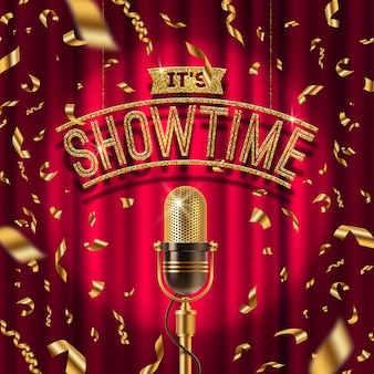 Golden signboard and retro microphone on stage in spotlight against the background of red curtain and golden confetti.  illustration.