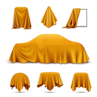 Golden silk cloth covered objects realistic set with draped frame car hanging napkin tablecloth curtain
