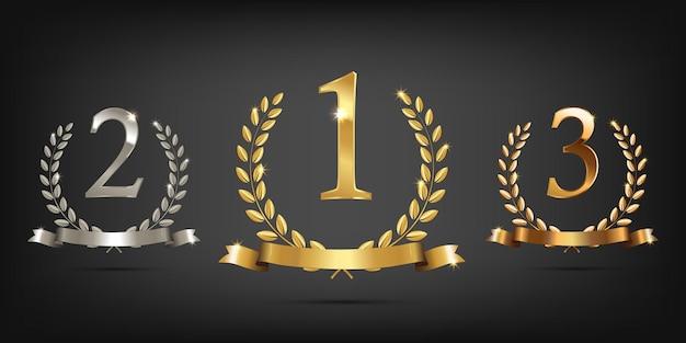 リボンと1位、2位、3位のサインが付いたゴールデン、シルバー、ブロンズの月桂樹の花輪。