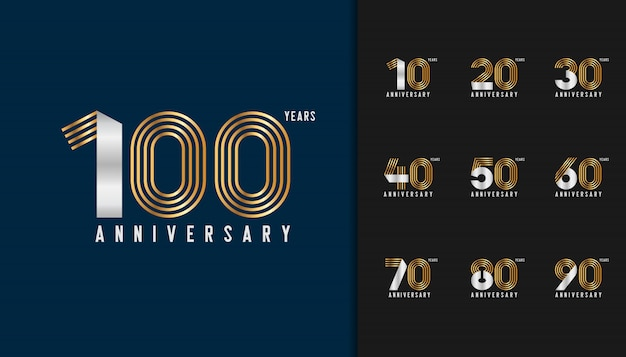Golden and silver anniversary celebration emblem set.