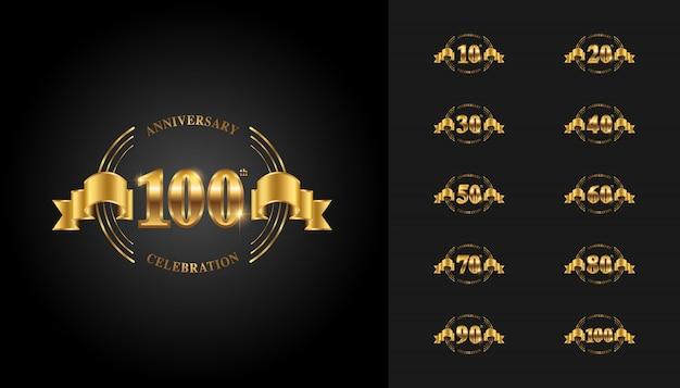 Golden and silver anniversary celebration emblem set.