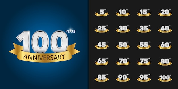 Golden and silver anniversary celebration logotype set.