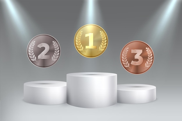 Golden silver bronze awards for first second third place on podium medals on pedestal vector
