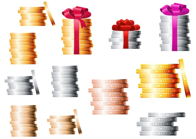 Golden, silver and bronze coins stacks, several of piles tied a red ribbons with lush bows on the top