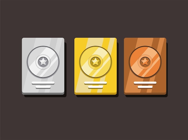 Golden silver and bronze disc award set