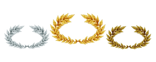 Golden silver and bronze laurel wreaths in realistic style as symbol sports achievement isolated illustration
