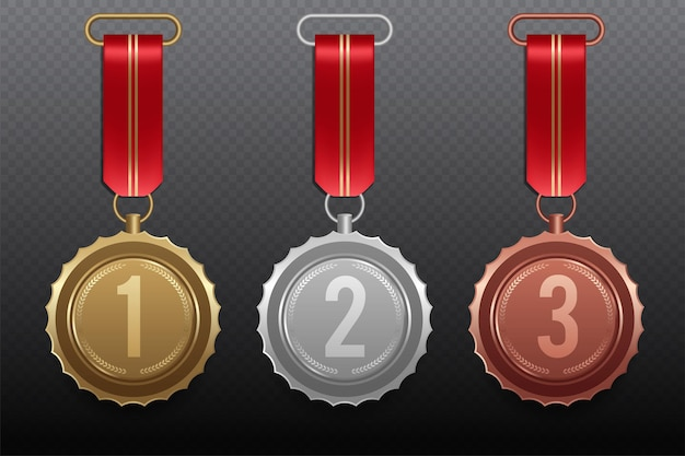 Golden silver bronze medal with red ribbon