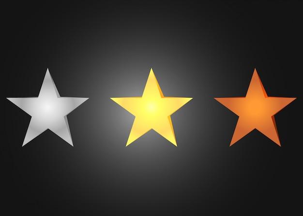 Golden silver bronze stars