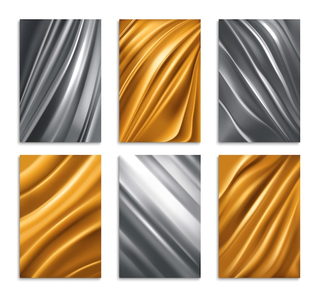 Golden and silver foil texture realistic set isolated illustration
