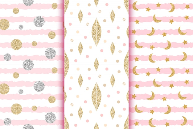 Golden and silver glitter seamless patterns with leaves, dots, circles, moon, stars on pink stripes, baby shower, wedding, save the date wallpapers.