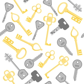 Golden and silver key set different modern and vintage pattern.
