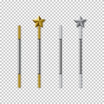 Golden and silver magic wands set isolated on transparent background.