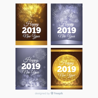 Golden and silver new year 2019 card collection