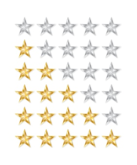 Golden and silver star. 5 star rating icon.