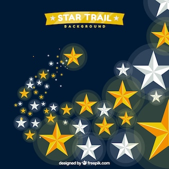 Golden and silver star trail background