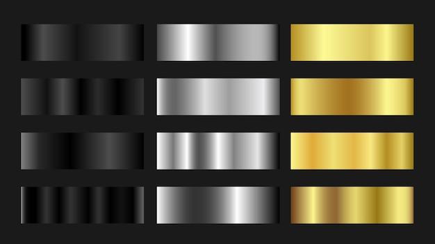 Цветовая палитра градиента golden silver titanium