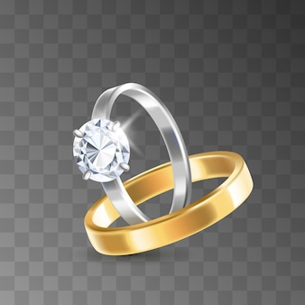 Golden and silver wedding rings decorated with precious stones diamonds for ceremony of marriage isolated on transparent background. realistic 3d vector illustration