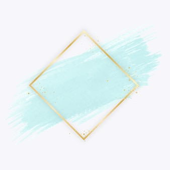 Golden simple frame with watercolor stain