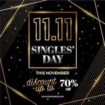 Golden singles day concept
