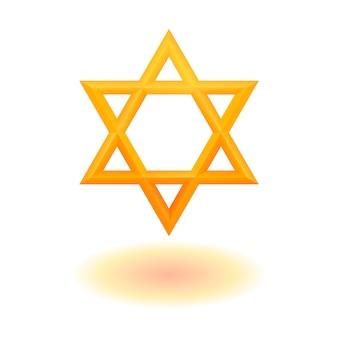 Golden six pointed geometric star figure