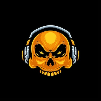 ゲーム用ヘッドセットのマスコットロゴが付いた金色の頭蓋骨