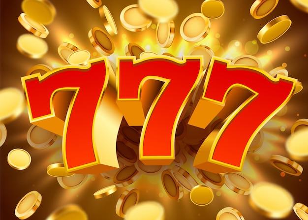 황금 동전을 날리는 황금 슬롯 머신 777이 잭팟에서 승리합니다.