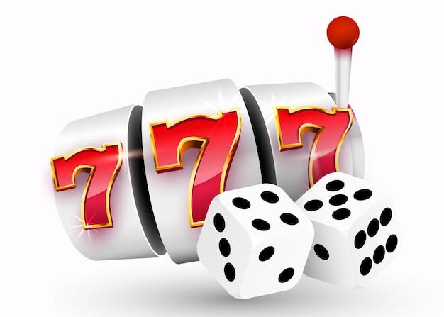 Золотой игровой автомат и пара игральных костей выигрывают джекпот. 777 big win джекпот казино.