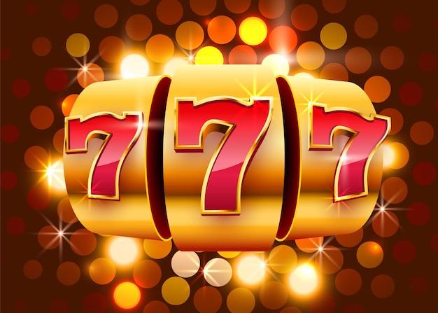 황금 슬롯 머신 동전이 잭팟에서 승리합니다. 777 빅 윈 카지노