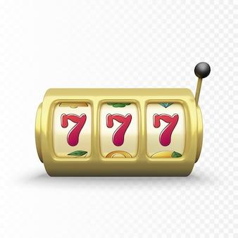 Золотой игровой автомат реалистичный рендеринг. 777 крупный выигрыш или выигрыш в казино с джекпотом. векторная иллюстрация
