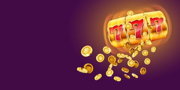 Golden slot machine wins the jackpot  big win concept casino jackpot