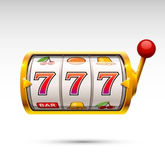 Golden slot machine wins the jackpot. vector illustration isolated on white background