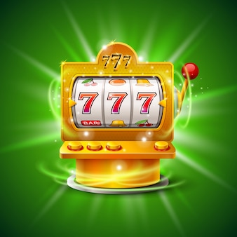Игровой автомат golden выигрывает джекпот. изолированные на зеленом фоне. векторная иллюстрация