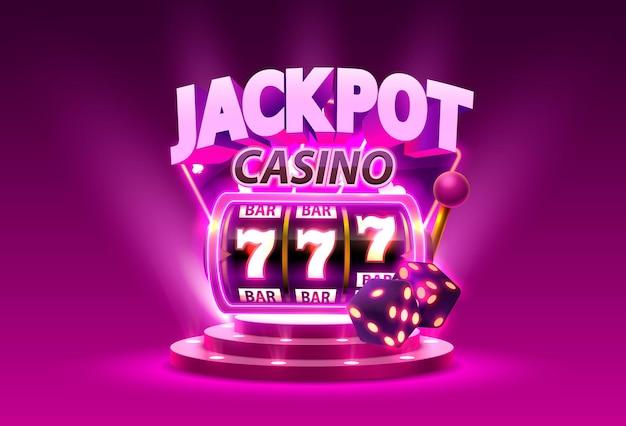 Игровой автомат golden выигрывает джекпот. изолированные на фиолетовом фоне. векторная иллюстрация