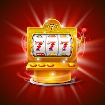 Игровой автомат golden выигрывает джекпот. изолированные на красном фоне. векторная иллюстрация