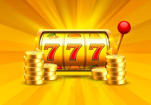 Игровой автомат golden выигрывает джекпот. груды золотых монет. векторные иллюстрации, изолированные на белом фоне