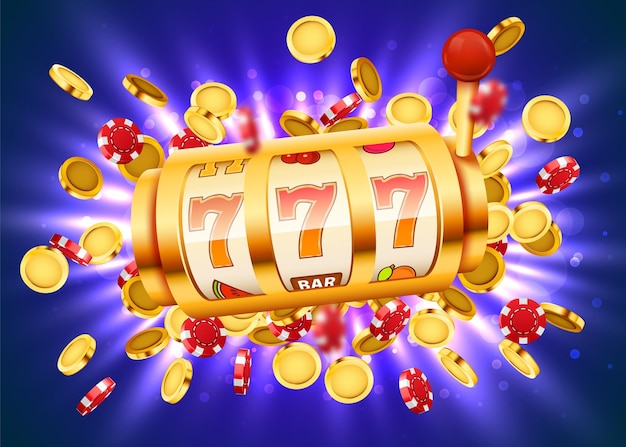 Golden slot machine with flying golden coins wins the jackpot