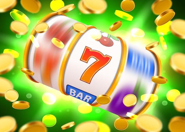 황금 동전을 날리는 황금 슬롯 머신이 잭팟에서 승리합니다. 큰 승리
