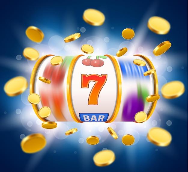 Золотой игровой автомат с летающими золотыми монетами выигрывает джекпот. большая победа