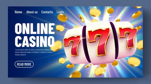 Золотой игровой автомат с летающими золотыми монетами выигрывает джекпот. интернет-казино. шаблон целевой веб-страницы
