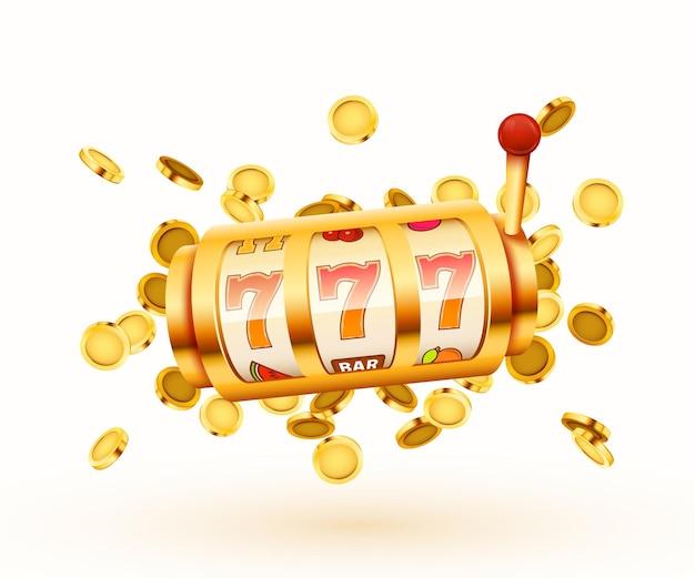 Золотой игровой автомат с летающими золотыми монетами выигрывает джекпот