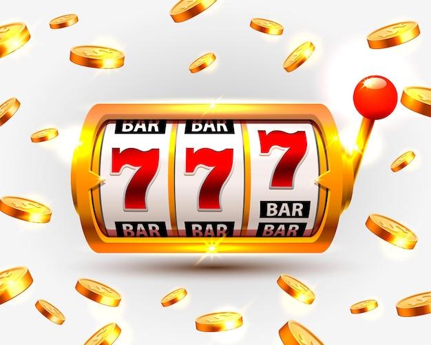 Golden slots machine wins the jackpot. vector illustration isolated on white background. vector illustration