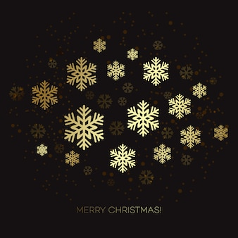 Golden snowflake dark greeting card