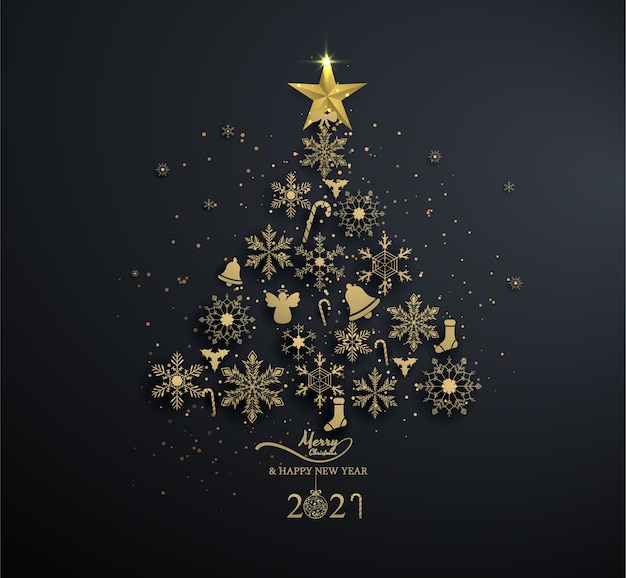 Golden snowflake into christmas tree with decoration on black background,light ,christmas ,happy new year.
