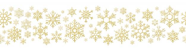 Golden snowflake seamless pattern.