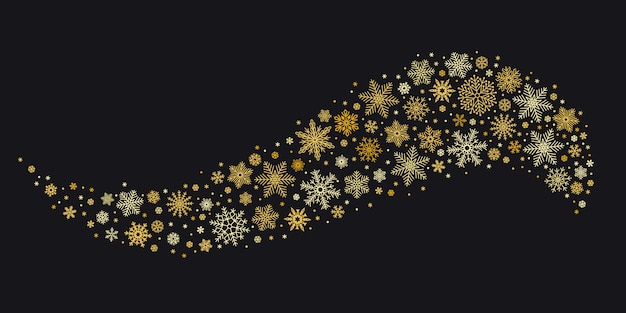 Golden snowflake wave