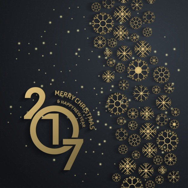 Golden snowflakes background of happy new year