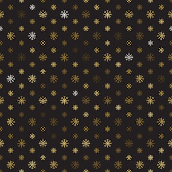 Golden snowflakes seamless pattern on black background.