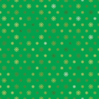 Golden snowflakes seamless pattern on green background.