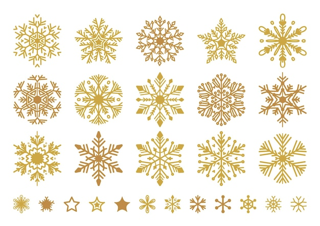 Golden snowflakes set christmas flat snow crystal