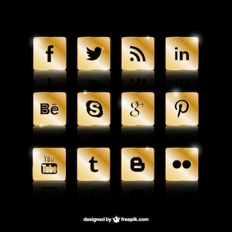 Golden social media icons
